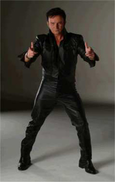 Mike as Elvis in black leather