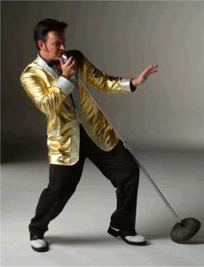 Mike as Elvis in gold lame