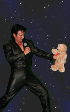 Mike as Elvis, Teddy Bear giveaway